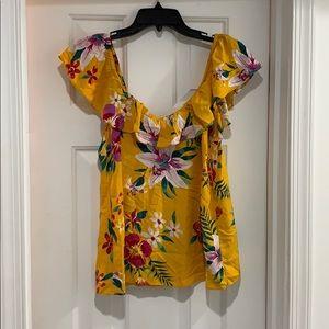 Ruffled Floral-Print V-Neck Blouse